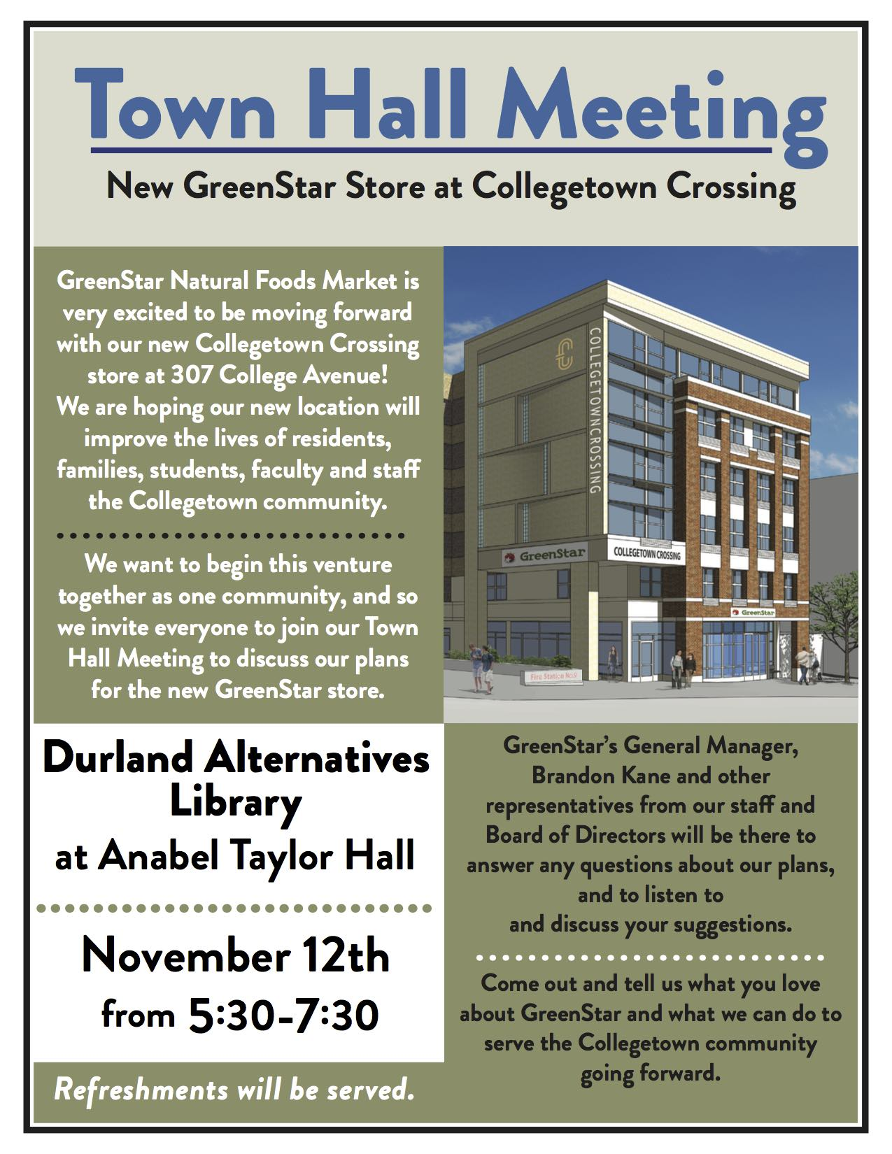 Town Hall Meeting : GreenStar in Collegetown - Durland