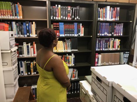 Jael setting up the Lending Library