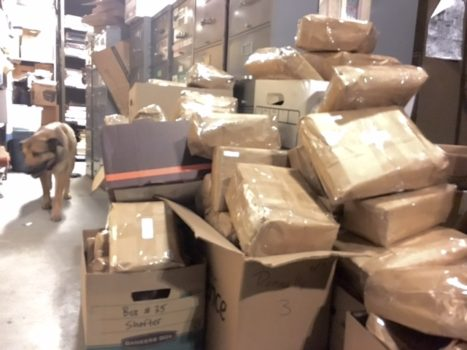 Hundreds of packages on hold waiting for postage.