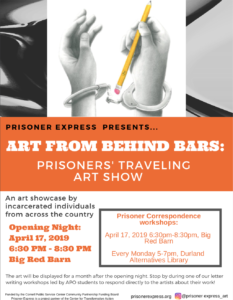 Learning Behind Bars >> Join Us For Opening Night Art From Behind Bars April 17 Durland